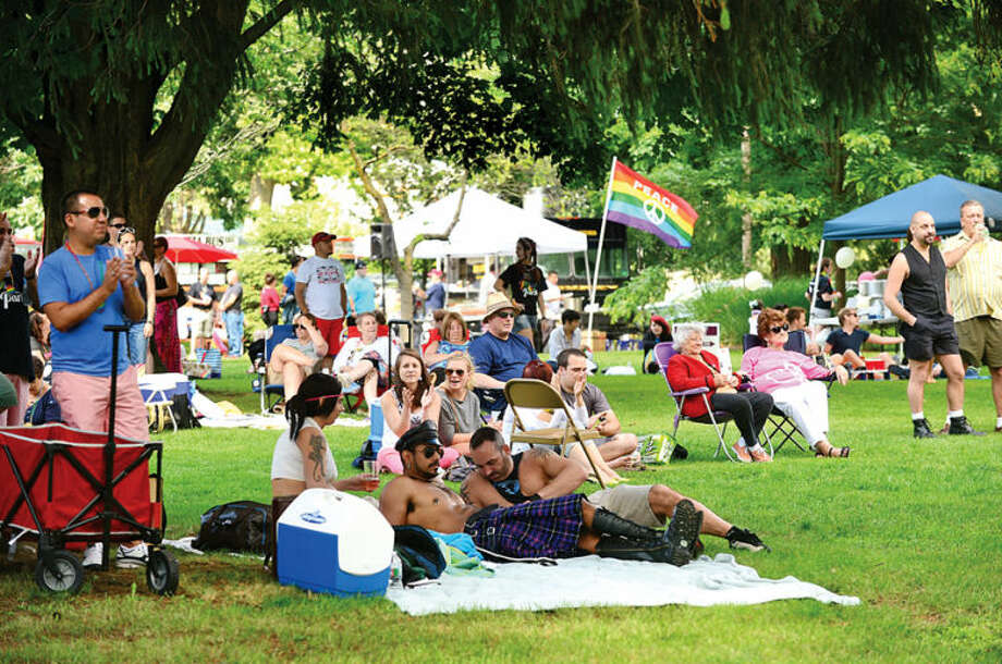 Hour photo / Erik Trautmann The Pride in the Park event at Mathews Park Saturday. The event was organized by the Triangle Community Center, and sponsored by General Electric, TD Bank, World Health Clinicians, the Mid-Fairfield AIDS Project, and Prudential.