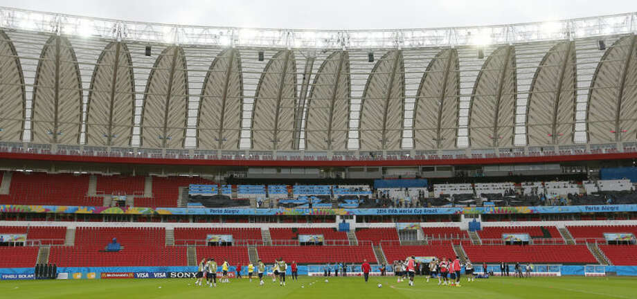 General view of the stadium during an official training session of the French national soccer team at the Estadio Beira-Rio in Porto Alegre, Brazil, Saturday, June 14, 2014. France will play in group E of the soccer World Cup. (AP Photo/David Vincent)