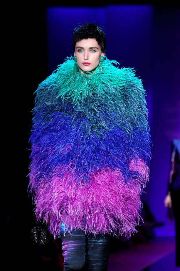 A model wears a creation for Giorgio Armani's fall-winter 2015/2016 Haute Couture fashion collection presented in Paris, France, Tuesday, July 7, 2015. (AP Photo/Thibault Camus)
