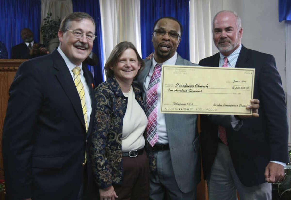 Contributed photo From left to right, Pastor Samuel Schreiner, III, Elder Sue Bielstein, Pastor DeWitt Stevens, Jr., and Elder Michael McGuire.