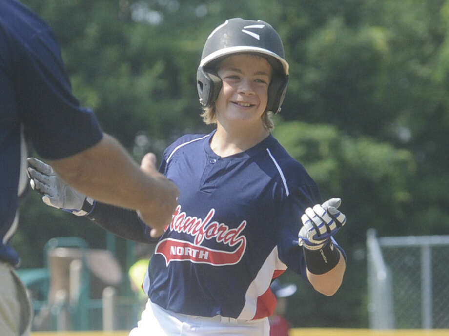 Ben Nash with the second home in an inning for North Stamford Little League. Hour photo/Matthew Vinci