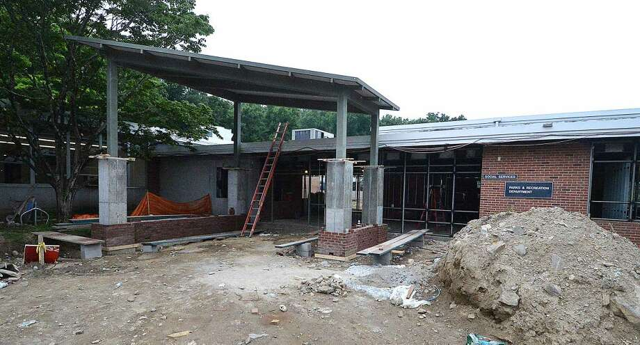 Hour Photo/Alex von Kleydorff Construction at the entrance to the Comstock Community Center in Wilton