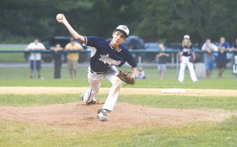 Hour photo/Alex von KleydorffWestport's Hayden Jamali pitches against Trumbull National on Wednesday.