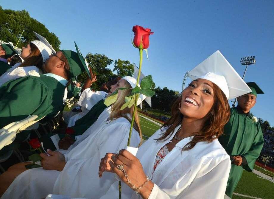 Hour Photo/Alex von Kleydorff Dejah Whitefield graduates with the Class of 2014 Norwalk High School