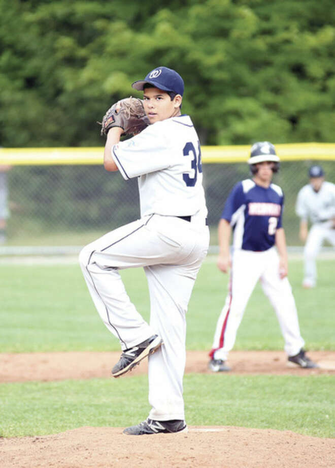 Photo by Danielle CallowayWilton pitcher Brian Cipri, is about to throw a strike during a District 1 Little League playoff game against Norwalk on Monday at Bisceglie Field in Weston. Wilton dropped a 19-4 decision at the hands of Norwalk.