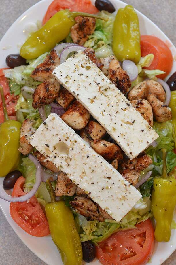 Greek salad with chicken souvlaki at Hope Pizza in Stamford.