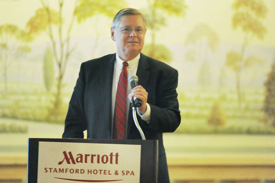 Mayor David Martin speaks Monday night at the Stamford Marriott Hotel & Spa during the Stamford Downtown Special Services District's 22nd annual meeting.