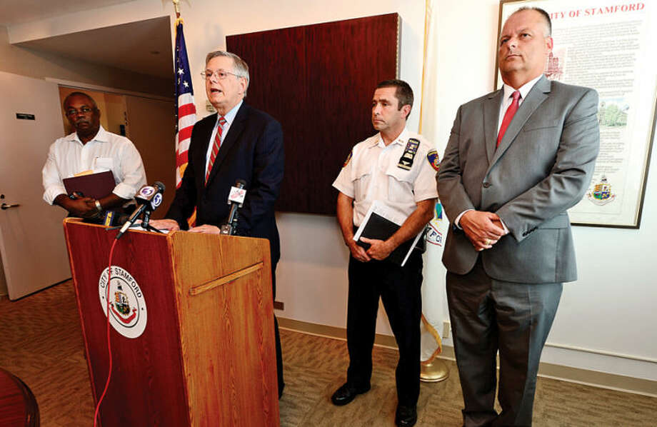 Hour photo / Erik Trautmann The City of Stamford announced the termination of the Director of Animal Control after violent dogs were given up for adoption during a press conference with Stamford HR Director Clemon Williams, Mayor David Martin, Assistant Police Chief Jim Matheny and Director of Public Safety Health & Welfare, Ted Jankowski.