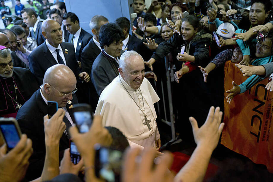 Pope Francis arrives at the second World Meeting of Popular Movements in Santa Cruz, Bolivia, Thursday, July 9, 2015. The Pope will give the keynote speech of the meeting and is expected to be one of the highlights of the trip. (AP Photo/Rodrigo Abd)