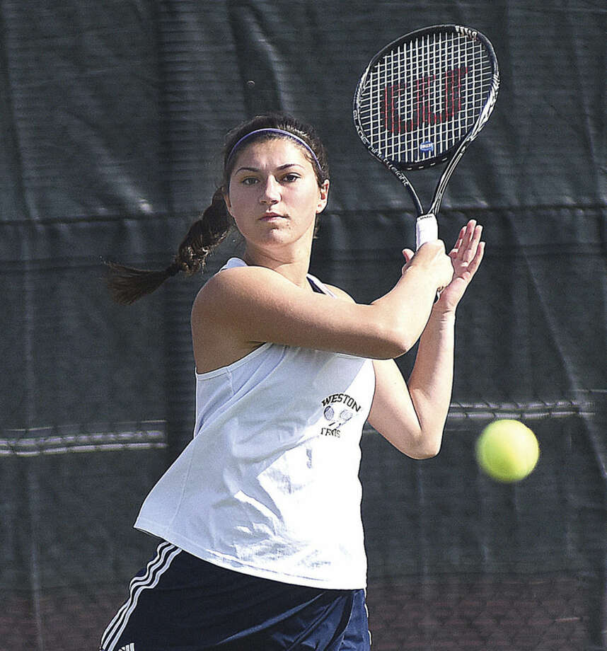 Hour photo/John NashWeston's Cayla Koch is The Hour's All-Area Girls Tennis MVP.