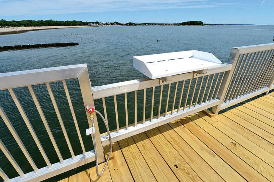 Hour photo / Erik Trautmann The new fishing pier at Calf Pasture Beach is open to the public. New amenities include benches and fish cleaning stations.