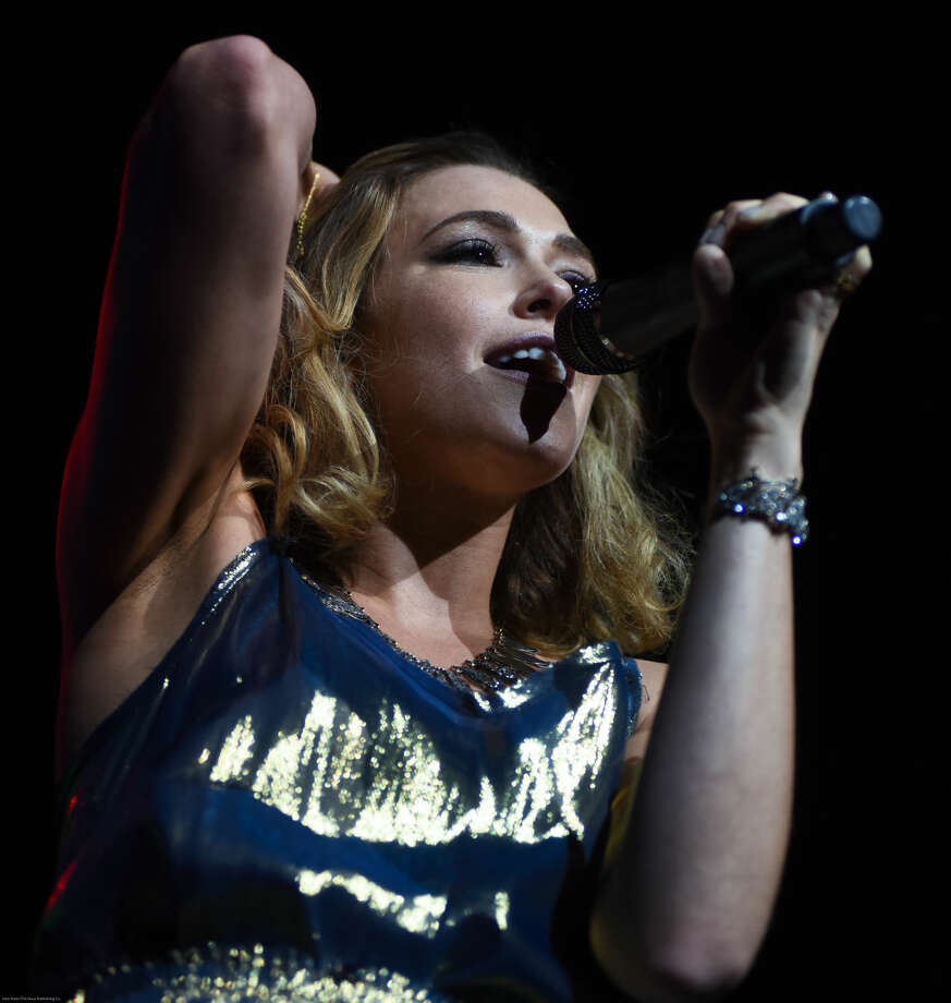 Hour photo/John Nash - Massachusett's own Rachel Platten, a Trinity College graduate, opened The Girls Night Out (And Boys are Invited, Too) tour for Colbie Caillat and Christina Perri on Friday night at Mohegan Sun Arena in Uncasville.