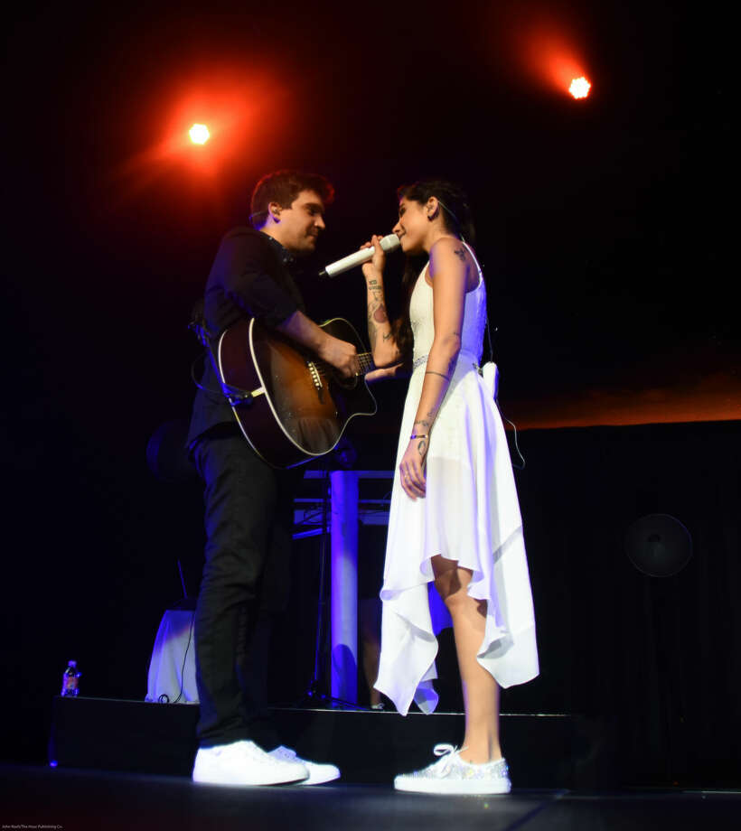 """Hour photo/John Nash - Singer/songwriter and pop star Christina Perri played Mohegan Sun Arena on Friday night as she and Colbie Caillat opened their """"Girls Night Out (Boys Can Come, Too) Tour."""