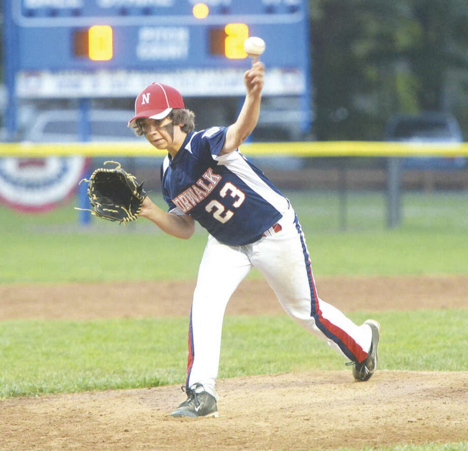 Hour photo/Alex von Kleydorff.Norwalk 11-year-old All-Star Ethan Platt is about to throw a pitch against Stamford National on Thursday before the game was postponed due to rain.
