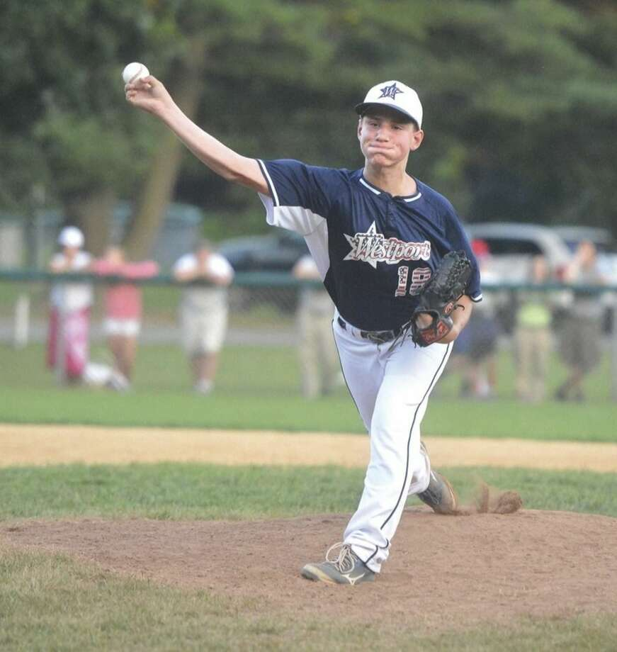 Hour Photo/Alex von KleydorffWestport pitcher Mark Roszkowski lets go of a pitch against Fairfield American during Friday's game in the winner's bracket final at Unity Park in Trumbull. Roszkowski was the winning pitcher in Westport's 10-7 victory over Fairfield American.