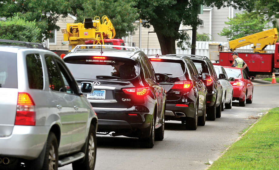 Traffic is backed up along Hope Street in Stamford. New construction on Hope Street is causing major traffic problems, residents say.
