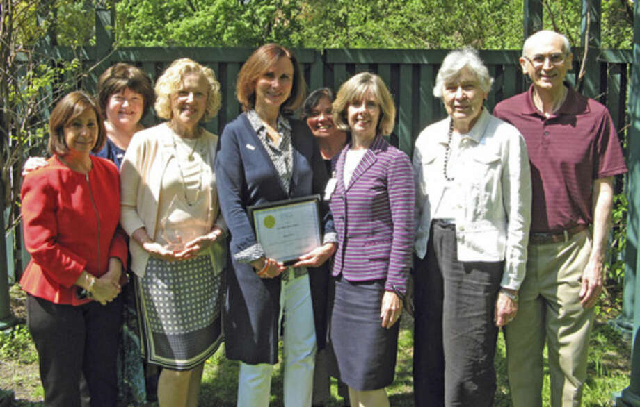 Contributed photoThe volunteers of Visiting Nurse & Hospice of Fairfield County were honored at an awards ceremony and luncheon. Pictured (from left) are Laurie Petrasanta, Dr. Sharon Sobel, Phyllis Osterman, Nancy Perez, Christine Pfeffer, Sharon Bradley, Elfriede Yoder and Ralph Behlok.