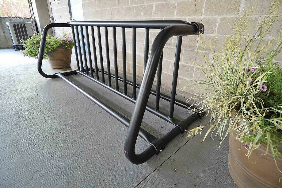 Hour Photo/Alex von Kleydorff Newly installed bike rack in the Maritime garage in SoNo
