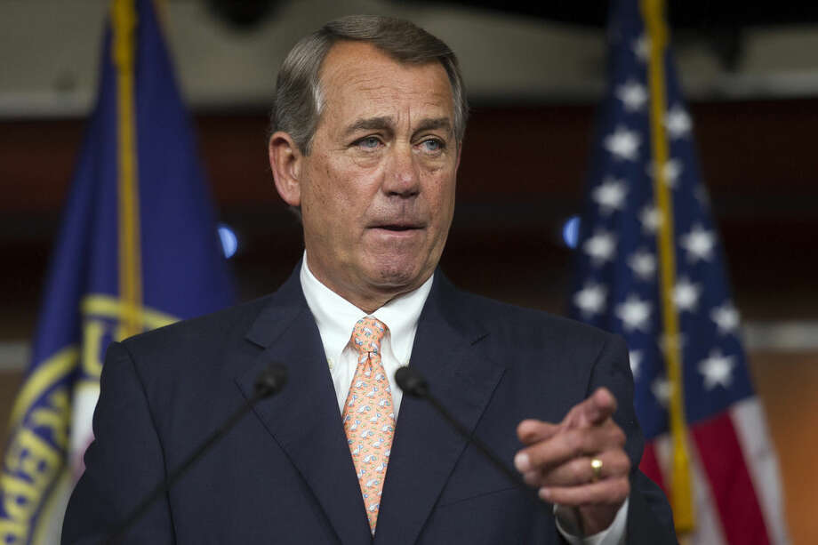 FILE - In this July 9,2015 file photo, House Speaker John Boehner of Ohio speaks during a news conference on Capitol Hill in Washington. Boehner is issuing a warning to the White House, saying that if Republicans don't think the newly announced nuclear deal with Iran is a good one, they will block it. (AP Photo/Cliff Owen, File)