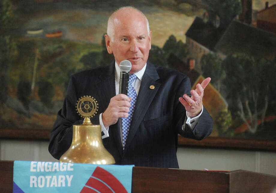 Jim Marpe, Westport's First Selectman, expands on his future vision for Westport and the steps currently underway to reach his goals at the Westport Rotary Club held in the Branson Hall at Christ & Holy Trinity Church in Wesport. Hour photo/Matthew Vinci