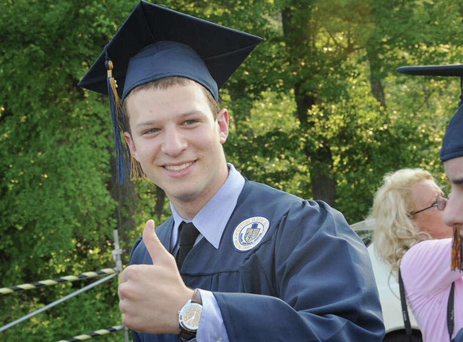 Eli Carter at the Weston High School graduation ceremony Tuesday night. Hour photo/Matthew Vinci