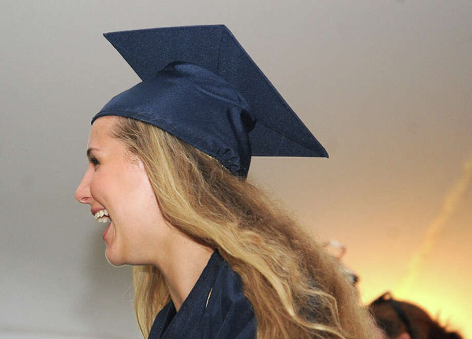 Megan Fitzgerald at the Weston High School graduation ceremony Tuesday night. Hour photo/Matthew Vinci