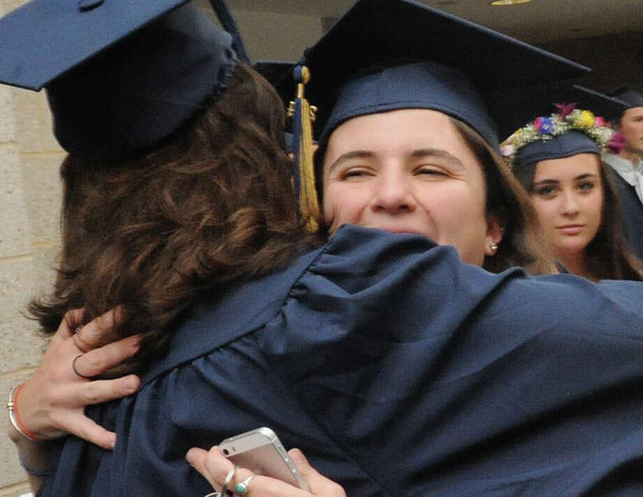 Kaitlin Coates at the Weston High School graduation ceremony Tuesday night. Hour photo/Matthew Vinci