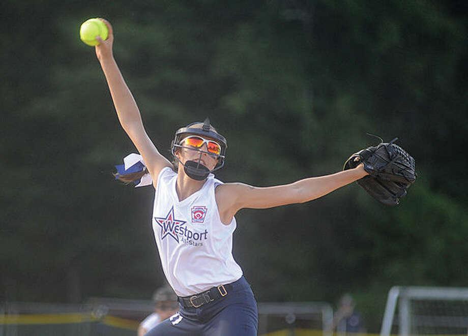 Westport pitcher Sophia Alfrero. Hour photo/Matthew Vinci