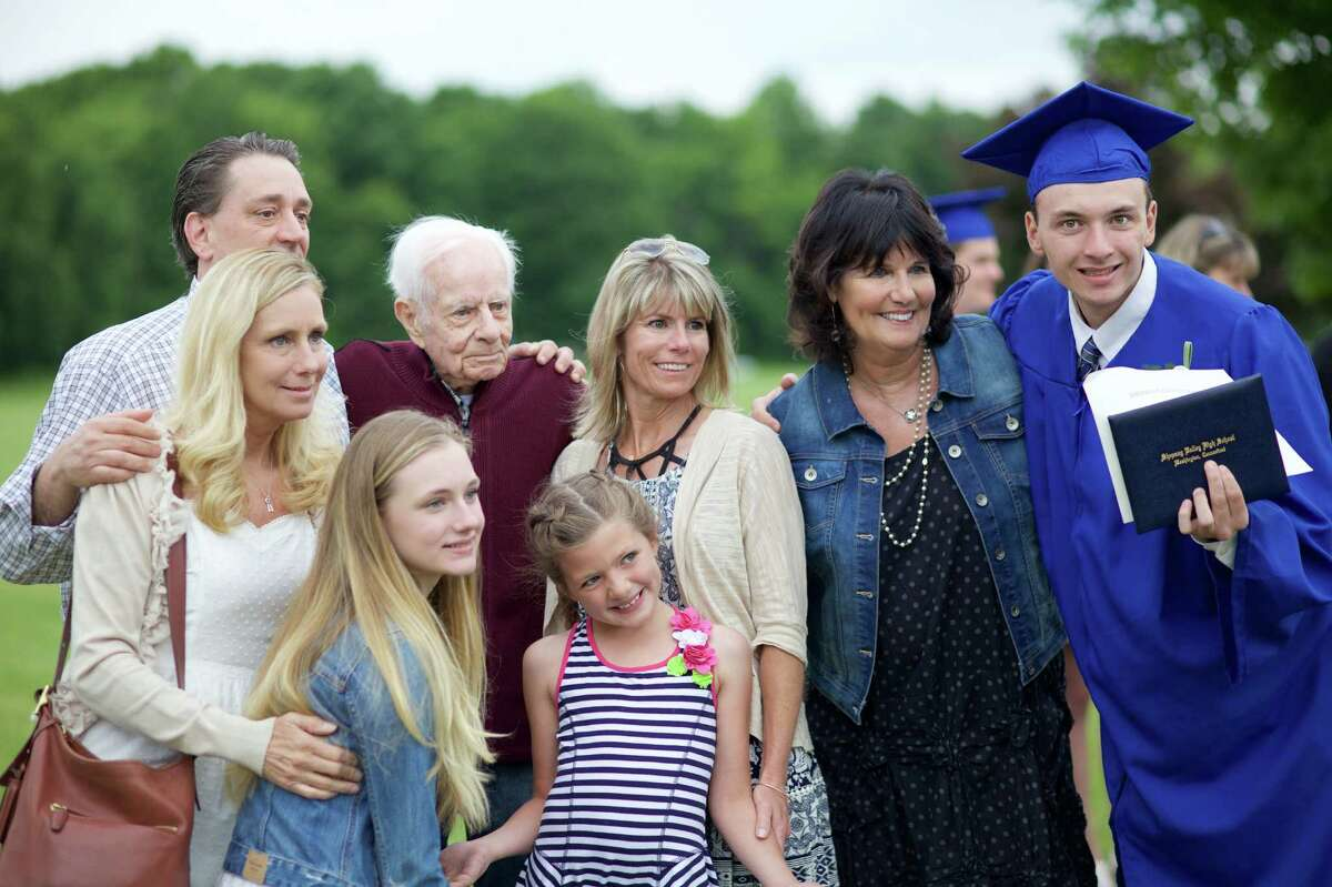 Peter Schur, Kerry Schur, Lily Schur, Robert Brown, Cheryl Rossi, London Rossi, Tina Humphreys, and New Graduate Connor Schur pose for pictures after the Shepaug Valley High School Class of 2016 Commencement on Saturday, June 11th, 2016, at 10:00am.