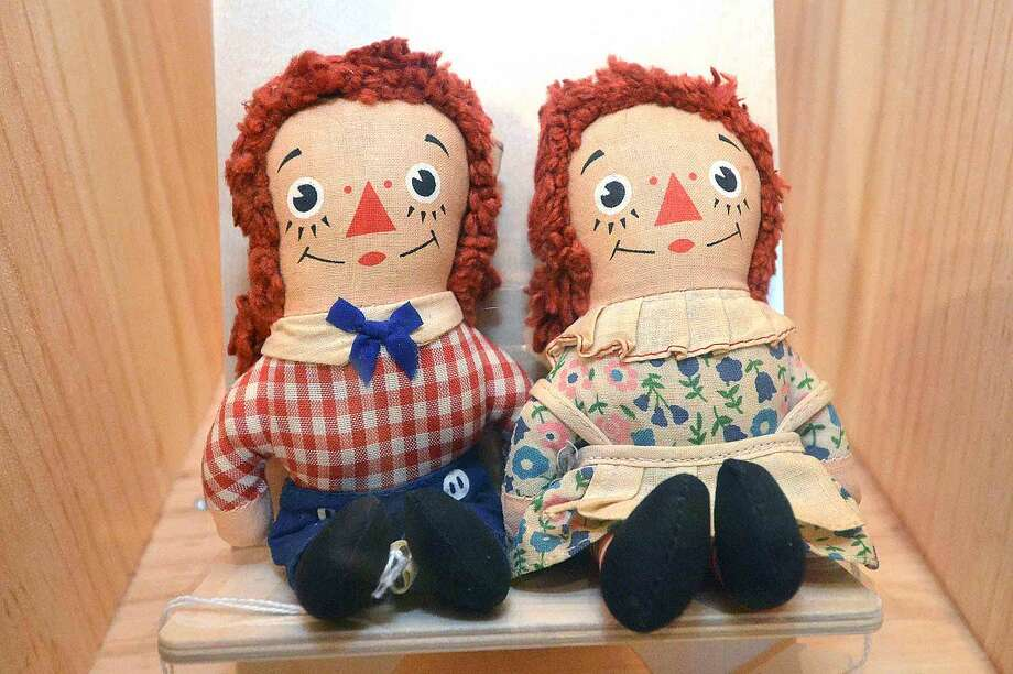 Raggedy Ann and Raggedy Andy on display at Stepping Stones Museum for Children.