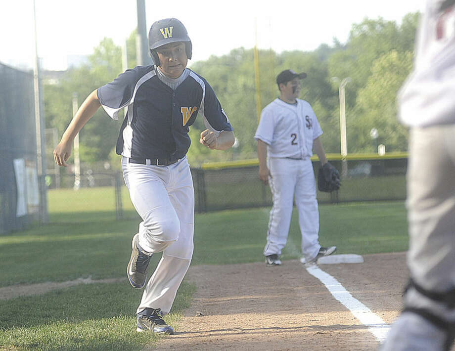 Hour photo/Matthew VinciWeston's Jack Potash races home to score in Weston's 17-4 win over Stamford National.