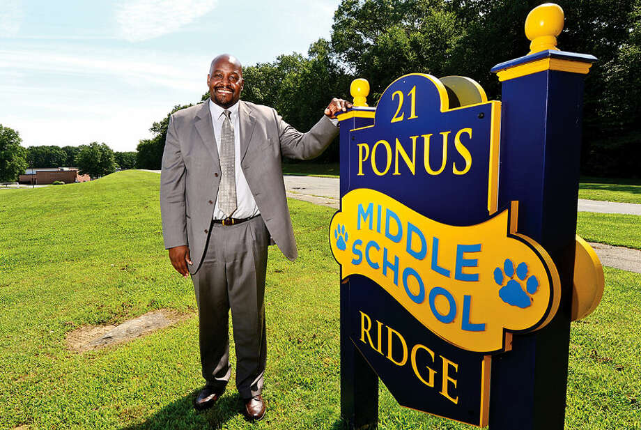 Hour photo / Erik Trautmann Damon Lewis, the new principal of Ponus Ridge Middle School