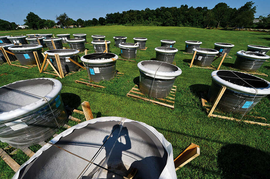 Hour photo / Erik Trautmann Planters at Taylor Farm Park wait to be moved to Calf Pasture Beach and other areas around town.