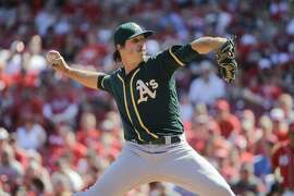 Oakland Athletics starting pitcher Daniel Mengden throws in the first inning of baseball game against the Cincinnati Reds, Saturday, June 11, 2016, in Cincinnati. (AP Photo/John Minchillo)