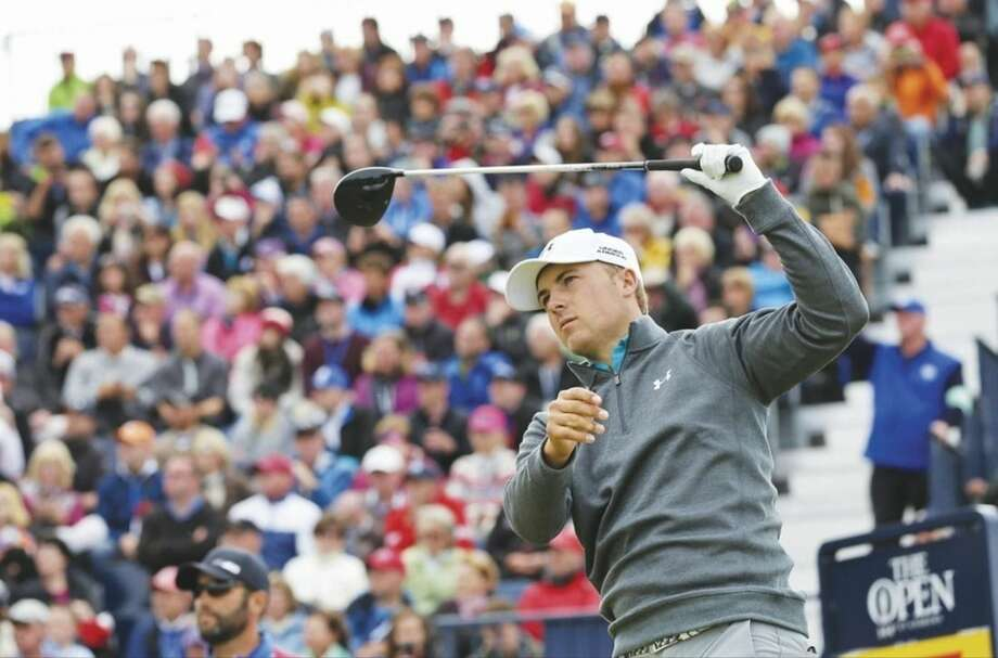 AP photoJordan Spieth plays from the 17th tee during the third round at the British Open on Sunday.