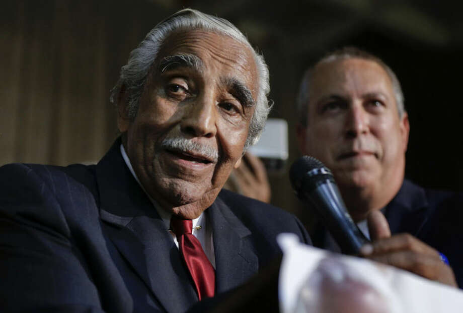 Rep. Charlie Rangel D-NY, speaks at his primary election night gathering, Tuesday, June 24, 2014, in New York. Rangel is seeking his 23rd term against opponent state Sen. Adriano Espaillat. (AP Photo/Julie Jacobson)