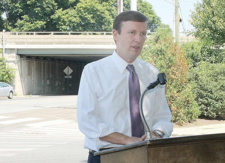 U.S. Senator for Connecticut Chris Murphy held press conference about bridges in Connecticut. Hour photo by Rachel Sawyer