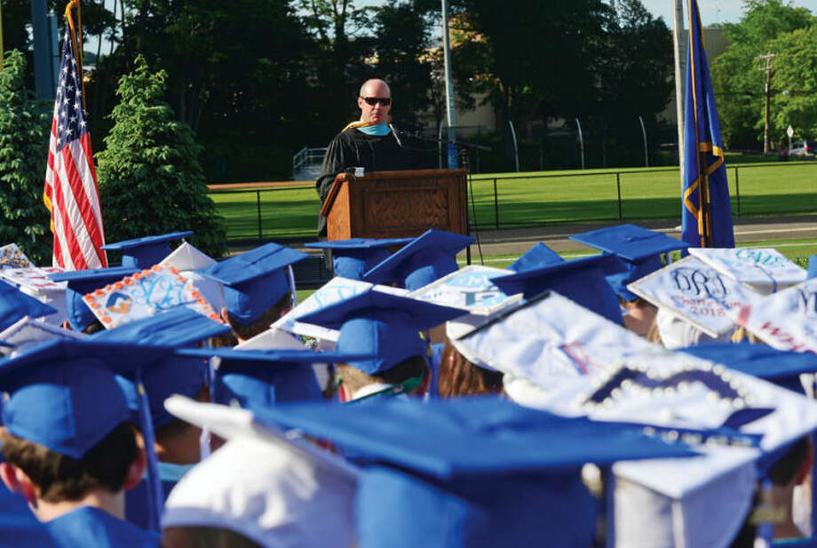 """Hour photo / Erik Trautmann Wilton High School principal Robert O""""Donnell speaks to the Class of 2014 commencement exercises Saturday."""