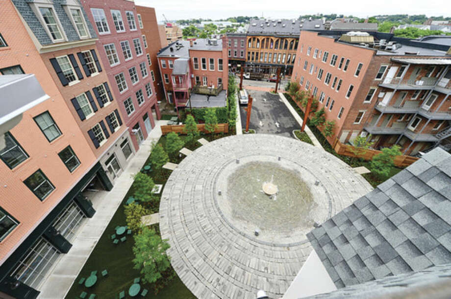 Hour photo / Erik Trautmann Ironworks, a multi-use development in the heart of SoNo, is nearly complete.