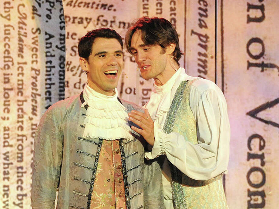 William Shakspeare's comedy The Two Gentlemen of Verona performed at Rowayton's Pinkey Park Tuesday. The two gentleman are, on the left is Nicholas Urda as Valentine and Ben Chase asProteus. Hour photo/Matthew Vinci