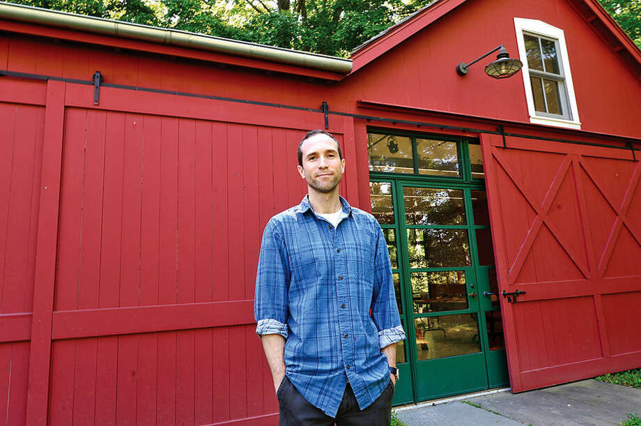 Hour photo / Erik Trautmann Cuyler Remick is the Weir Farm Art Center's resident artist for July.