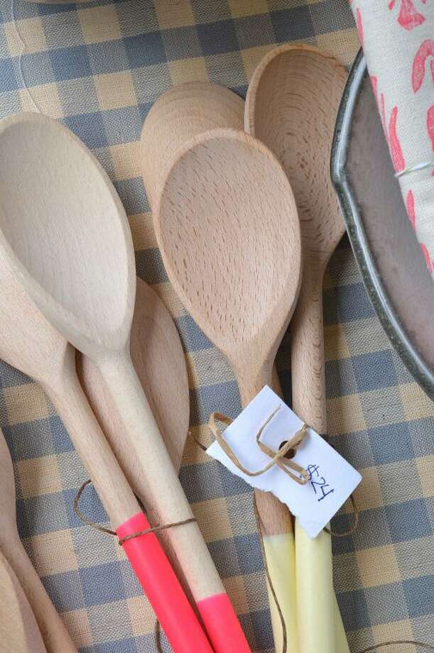 Handmade wooden spoons are just part of what the Betts Store at The Wilton Historical society offers at the Wilton Farmers Market.