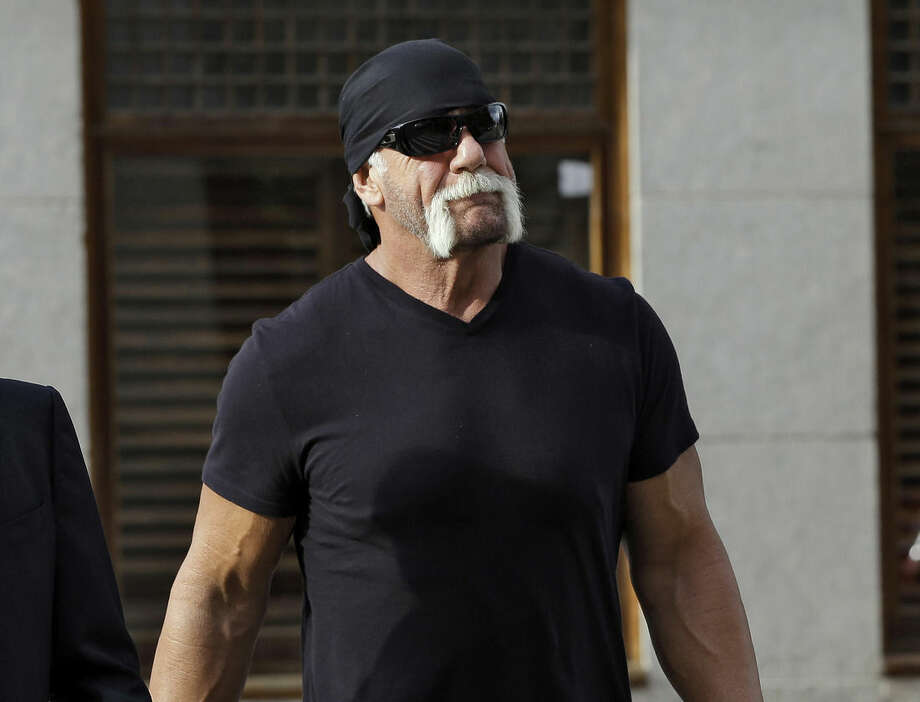 "FILE - In this Oct. 15, 2012 file photo, former professional wrestler Hulk Hogan, whose real name is Terry Bollea, arrives for a news conference at the United States Courthouse in Tampa, Fla. World Wrestling Entertainment Inc. has severed ties with Hogan. The company did not give a reason, but issued a statement Friday, July 24, 2015, saying it is ""committed to embracing and celebrating individuals from all backgrounds as demonstrated by the diversity of our employees, performers and fans worldwide."" (AP Photo/Chris O'Meara, File)"