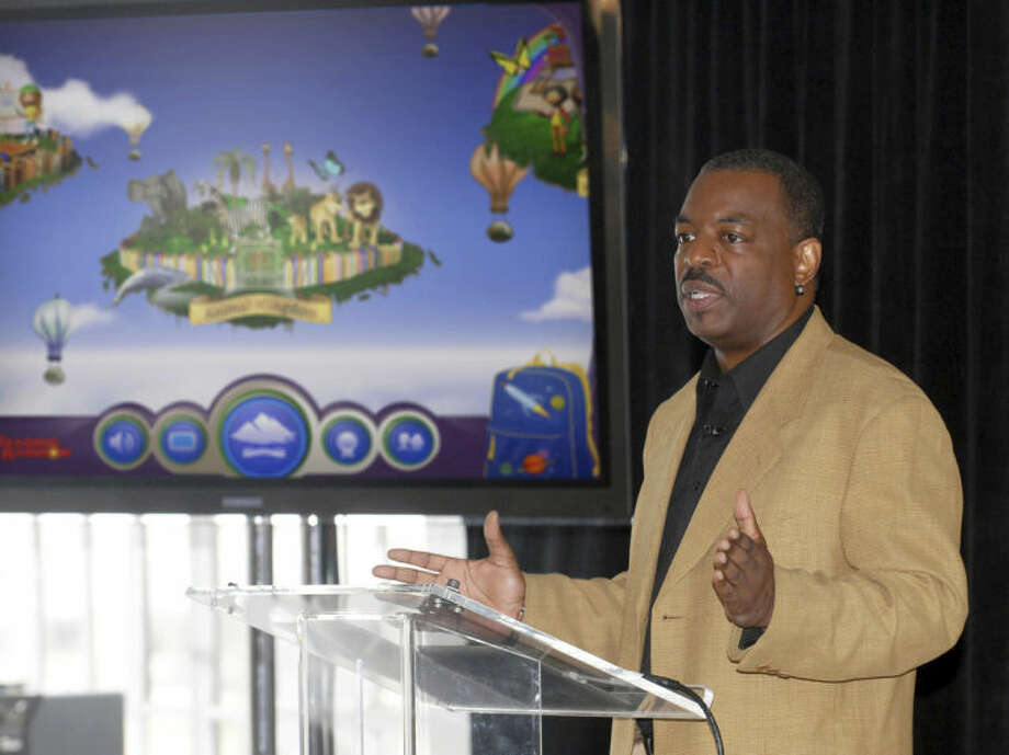 "Ap photoThis June 19, 2012 file photo shows LeVar Burton introducing the all new Reading Rainbow adventure app to the media, publishers and parents at the ""Reading Rainbow Relaunch"" event in New York."