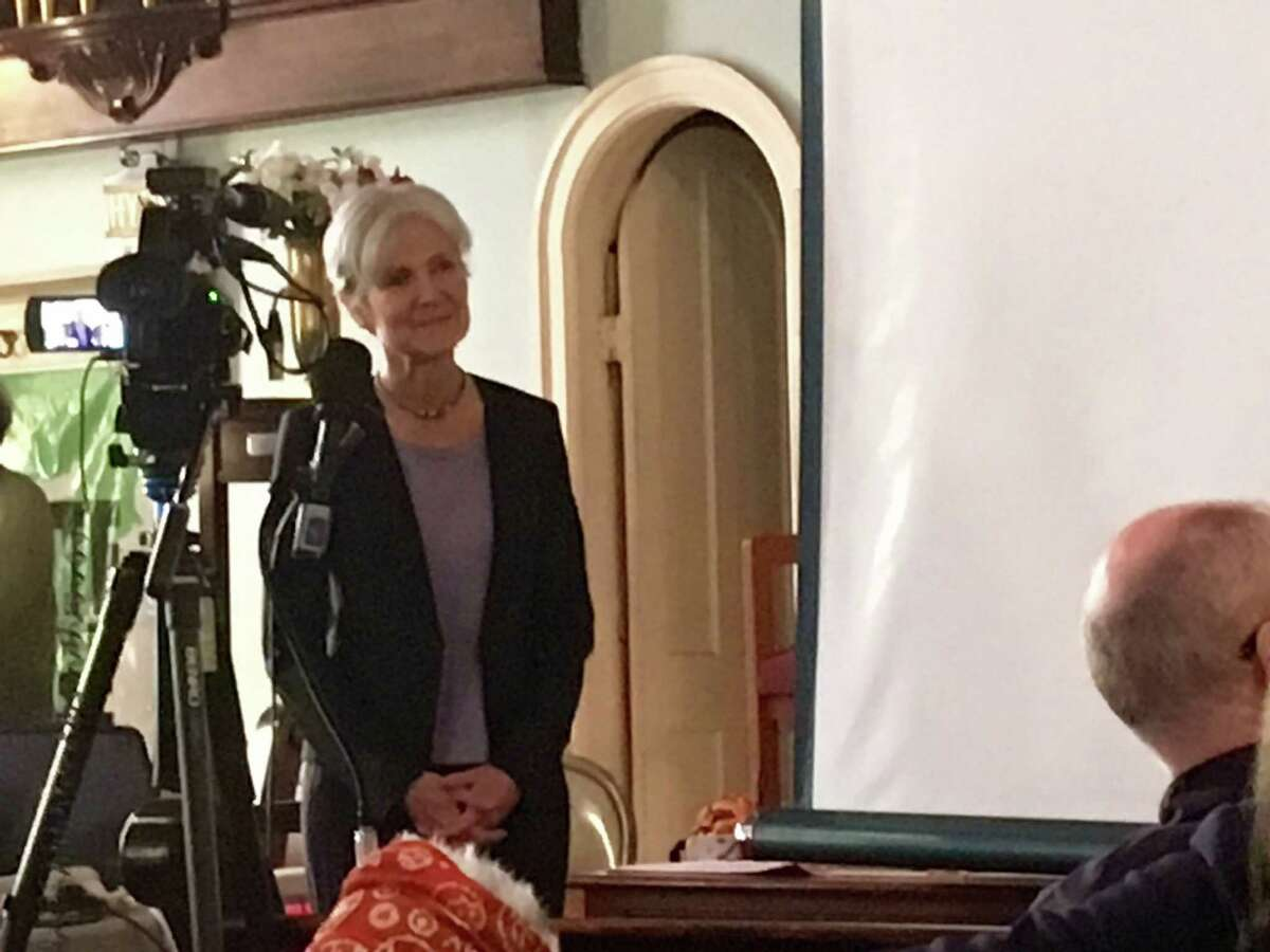 Jill Stein responds to a question at the Oakwood Community Center in Troy on Saturday, June 11, 2016.