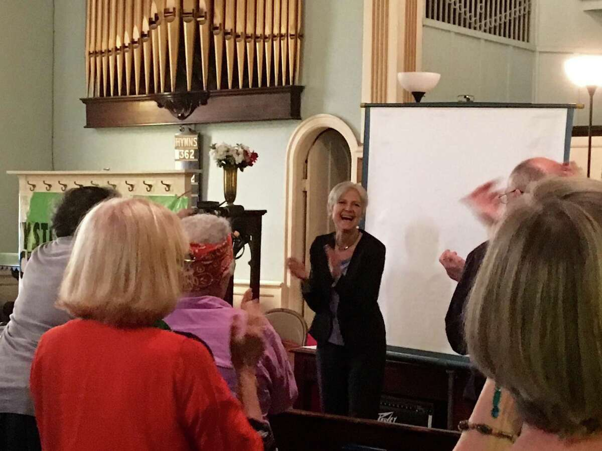 Jill Stein cheers at the Oakwood Community Center in Troy on Saturday, June 11, 2016.