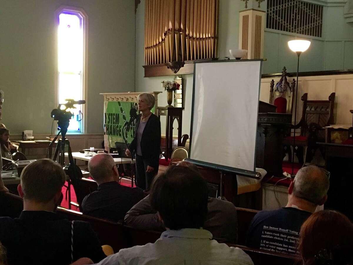 Jill Stein speaks at the Oakwood Community Center in Troy on Saturday, June 11, 2016.