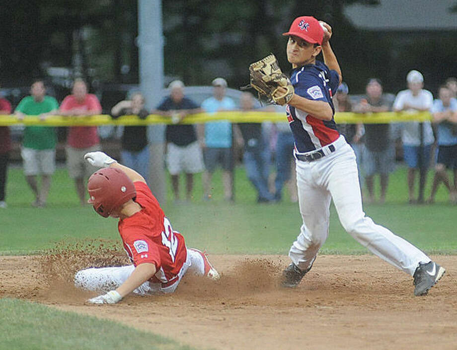 Dave Collazo Stamford, Fairfield's Nick Morris is out Championship game between North Stamford little league and Fairfield American. Hour photo/Matthew Vinci