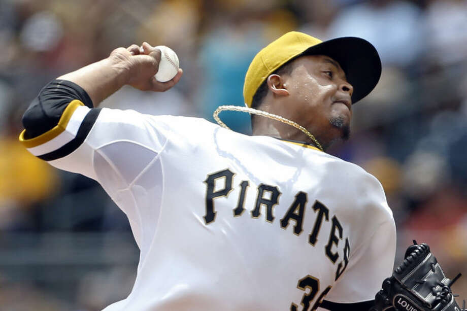Pittsburgh Pirates starting pitcher Edinson Volquez (36) throws against the New York Mets in the first inning of the baseball game on Sunday, June 29, 2014, in Pittsburgh. (AP Photo/Keith Srakocic)