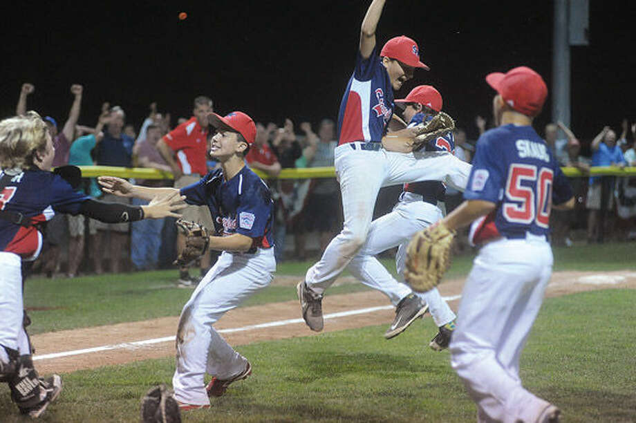 Stamford celebrates the win Sunday at the Championship game between North Stamford little league and Fairfield American. Hour photo/Matthew Vinci